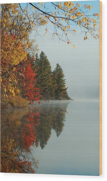 Fall Colors On Low's Lake Wood Print