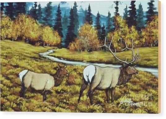 Fall Elk Wood Print by Bobbylee Farrier