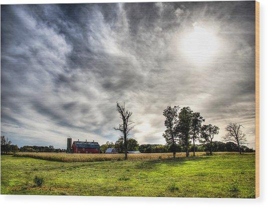 Fall Farm View Wood Print by Dan Crosby
