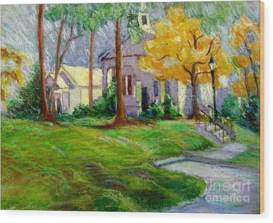 Fall Glow On Roswell Church Wood Print