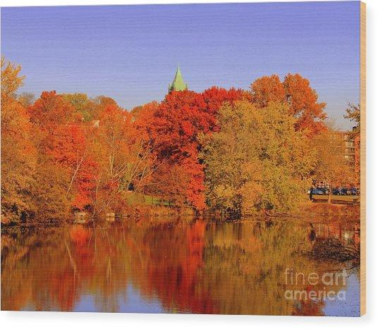 Fall On Mystic Lake Wood Print