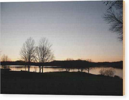 Fall Sunset Wood Print by Herman Boodoo