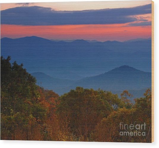 Fall Sunset Sky At Brasstown Bald Georgia Wood Print