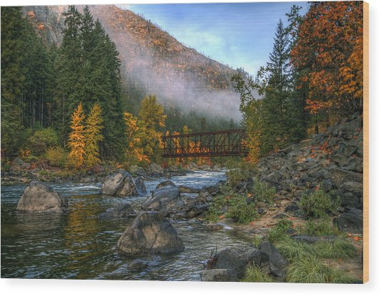 Fall Up The Tumwater Wood Print
