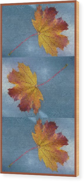 Falling Autumn Leaves Wood Print