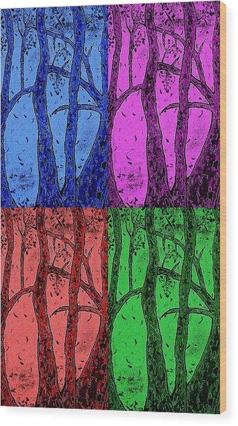Falling Leaves In Four Colors Wood Print