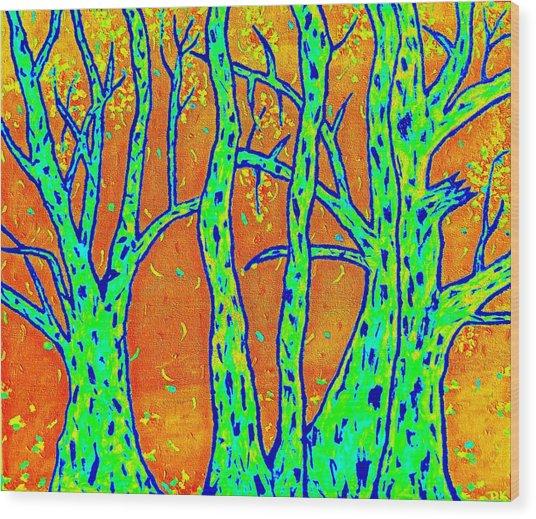 Falling Leaves Invert Wood Print