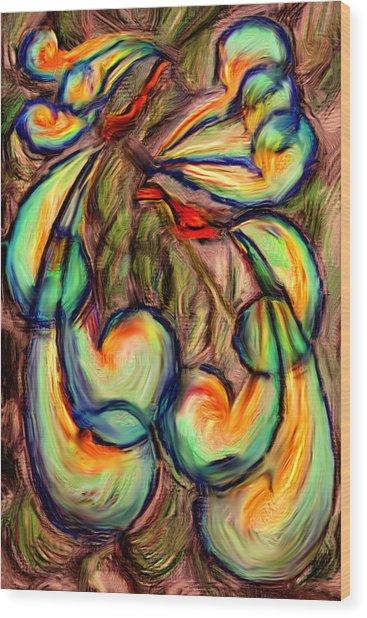 Fanciful Birds Wood Print by Judi Quelland