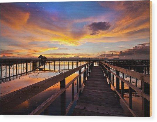 Fantastic Sky On Wood Bridge Wood Print by Arthit Somsakul