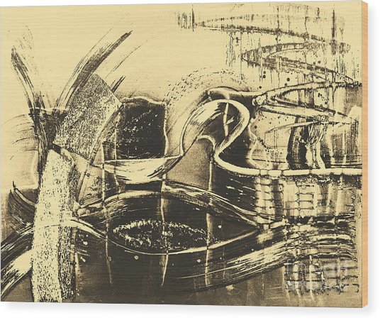 Fantasy In Monotone Wood Print by Emilio Lovisa