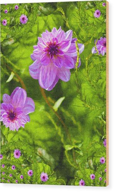 Fantasy Pink Dahlia Wood Print by Design Windmill