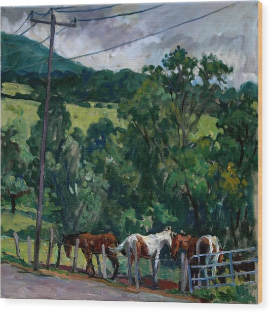 Farm Horses Berkshires Wood Print