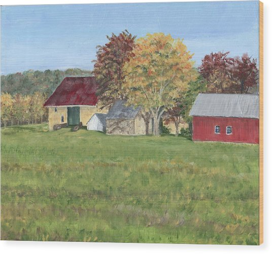 Farm On Ridge Road Wood Print