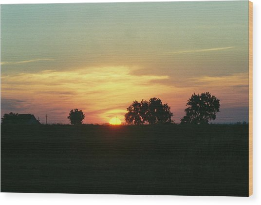 Farm Sunup Wood Print by Trent Mallett