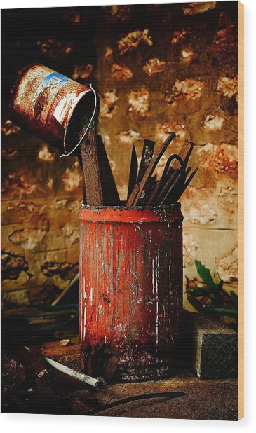 Farm Yard Bucket Wood Print