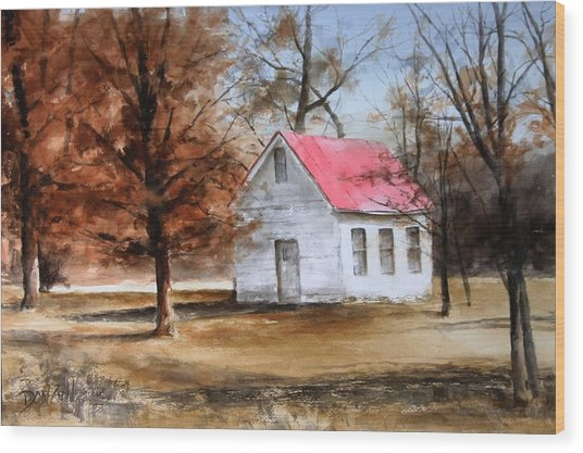Farmers Ridge School Wood Print by Don Cull