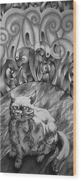 Fat Cat Fur Ball Wood Print