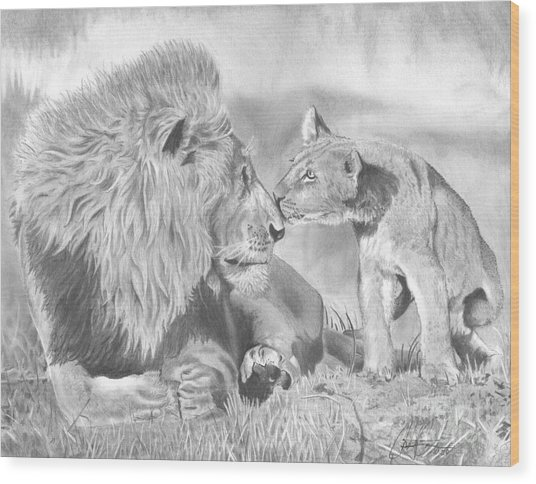 Father And Cub Wood Print