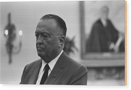 Fbi Director, J. Edgar Hoover, In An Wood Print by Everett
