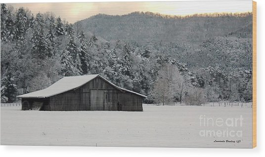 February's Snow Wood Print