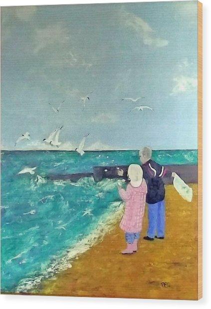 Feeding The Gulls Wood Print by Peter Edward Green