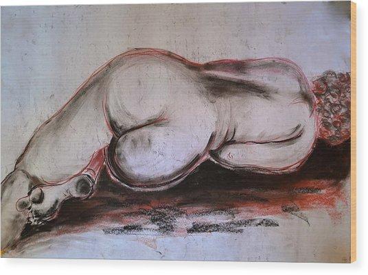 Female Nude Sleeping Wood Print