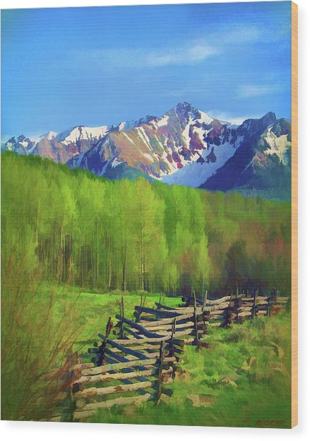 Fenceline Mountains Wood Print