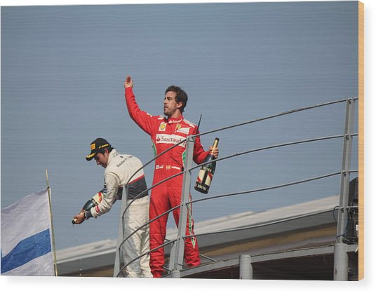 Fernando Alonso And Sergio Perez Wood Print by David Grant