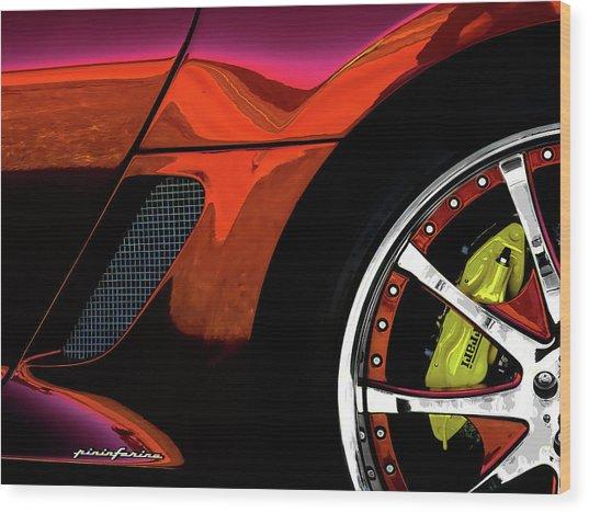 Ferrari Wheel Detail Wood Print