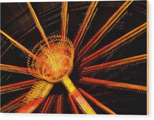 Ferris Wheel Lights Wood Print by Jeffrey Auger