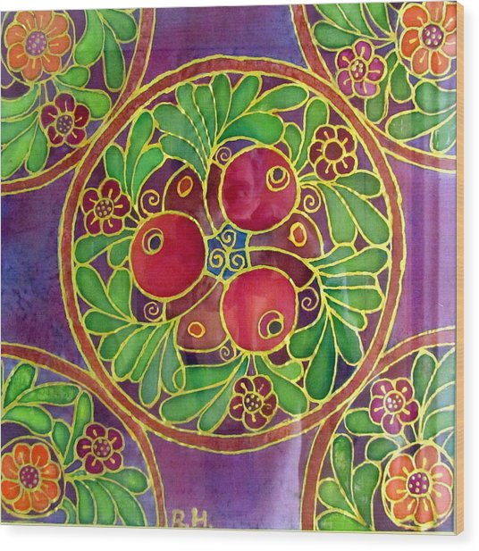 Festive Pomegranates In Gold And Vivid Colors Wall Decor In Red Green Purple Branch Leaves Flowers Wood Print