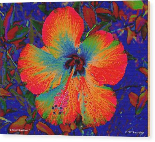 Festonned Hibiscus Wood Print