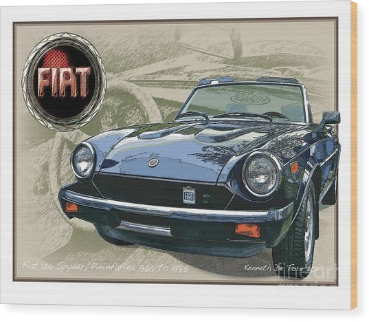 Fiat Spyder Wood Print
