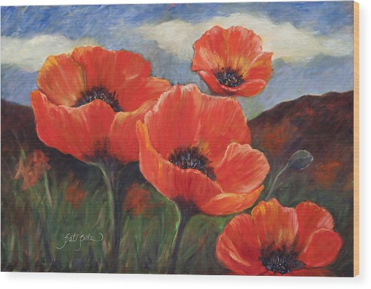 Field Of Orange Poppies Wood Print