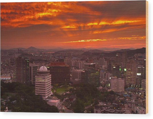 Fiery Seoul Sunset Wood Print by Gabor Pozsgai