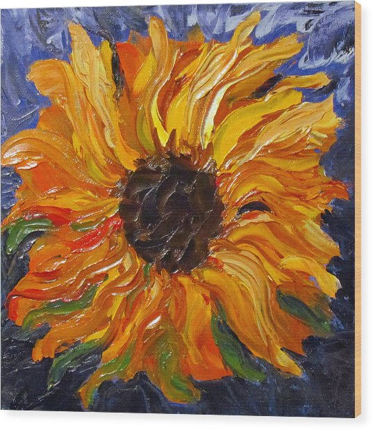 Fiery Sunflower Wood Print