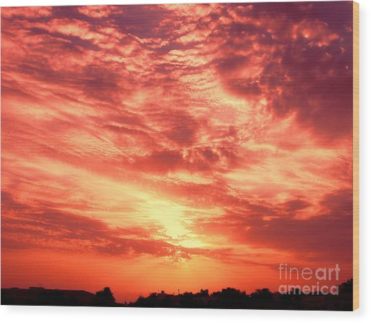 Fiery Sunrise Wood Print by Graham Taylor