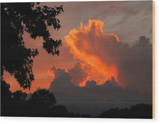 Fiery Sunset Wood Print