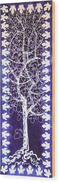 Fig Tree And Moonlight Wood Print by Alain Guiguet