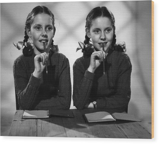 Film Star Twins Wood Print by Maurice Ambler