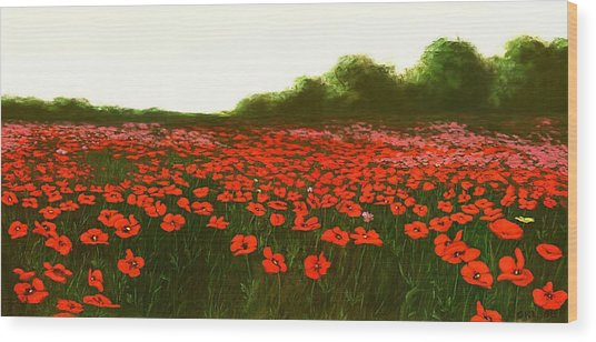 Fine Art Oil Painting Poppies Emerald Isle Wood Print