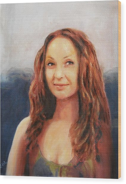 Fine Art Original Painting Jen Mona Lisa 2012 Wood Print