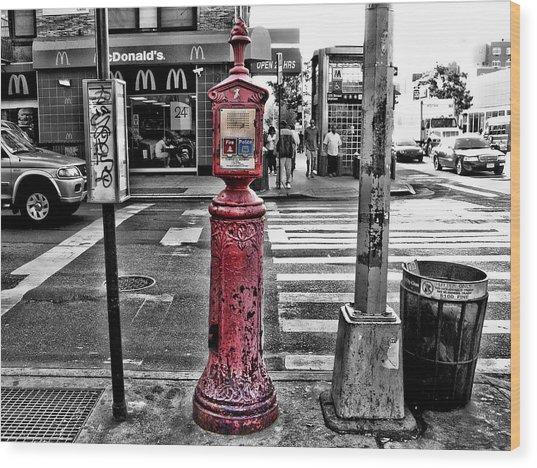 Fire Call Box Wood Print by Bennie Reynolds