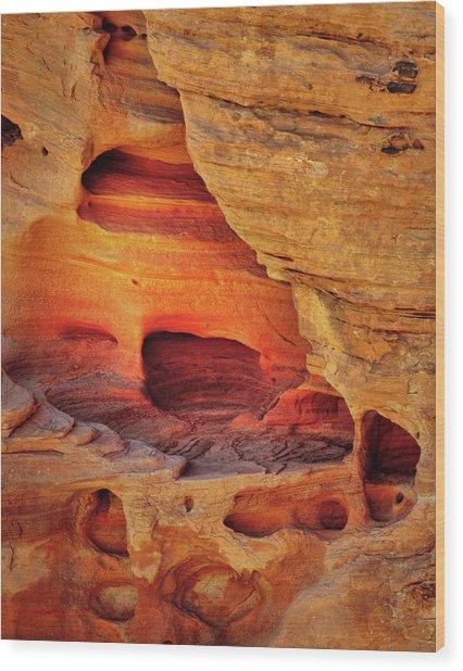 Fire Cave Wood Print