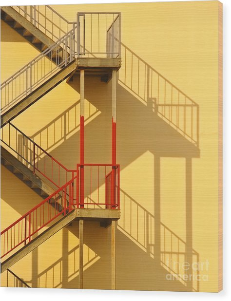 Fire Escape And Shadow Wood Print by David Buffington