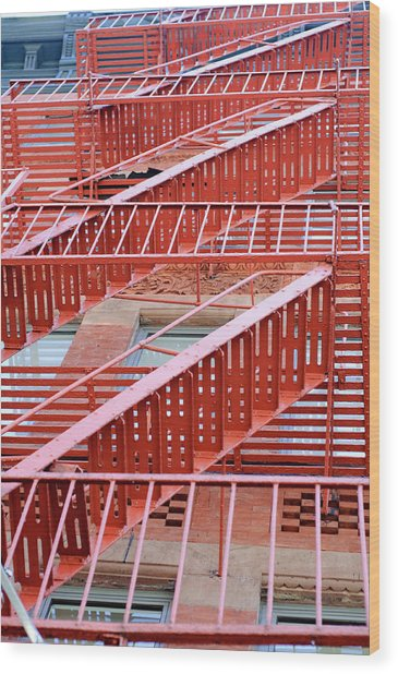 Fire Escape Wood Print by Copyright Eric Reichbaum