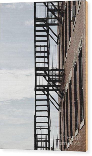 Fire Escape In Boston Wood Print