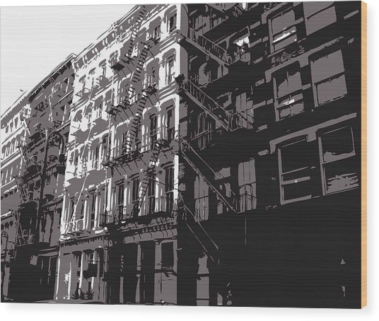Fire Escapes Bw3 Wood Print by Scott Kelley