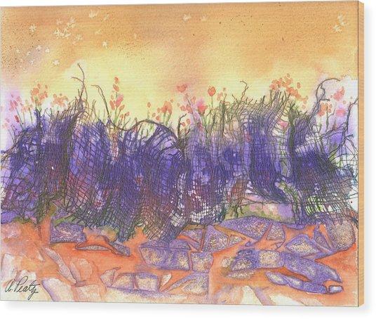 Fire Flowers Wood Print