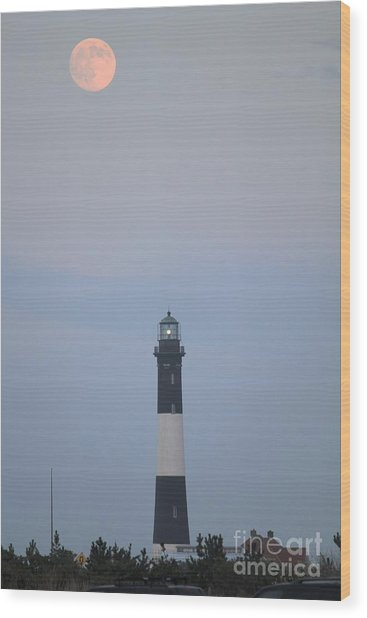 Fire Island Light House  Wood Print by Scenesational Photos